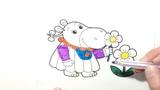 Раскраска для детей Бегемотик