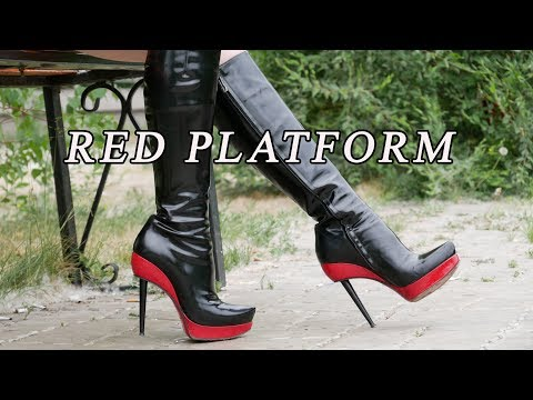 Christina's in luxury patent leather red platform on high heels Gianmarco Lorenzi boots