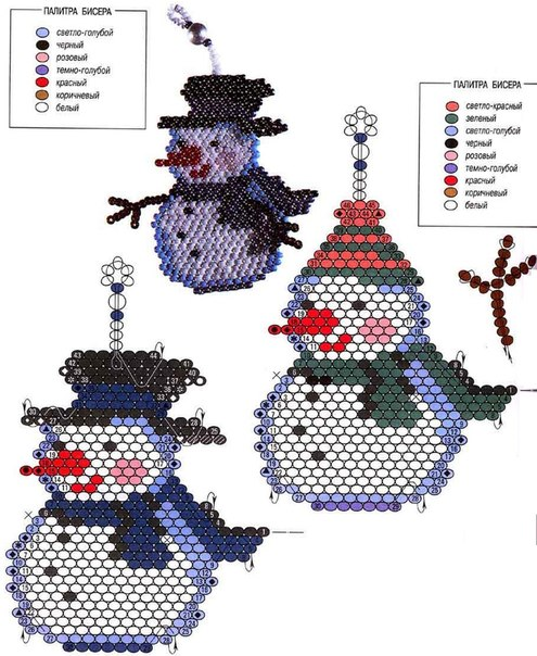 Снеговик и Дед Мороз из бисера