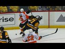 Malkin gets his leg tangled up with Lehtera, takes the worst of it