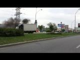 Авария, горит автомобиль. Г. Киев ул. Саперно-слободская 04.09.2017 (4 сентября)