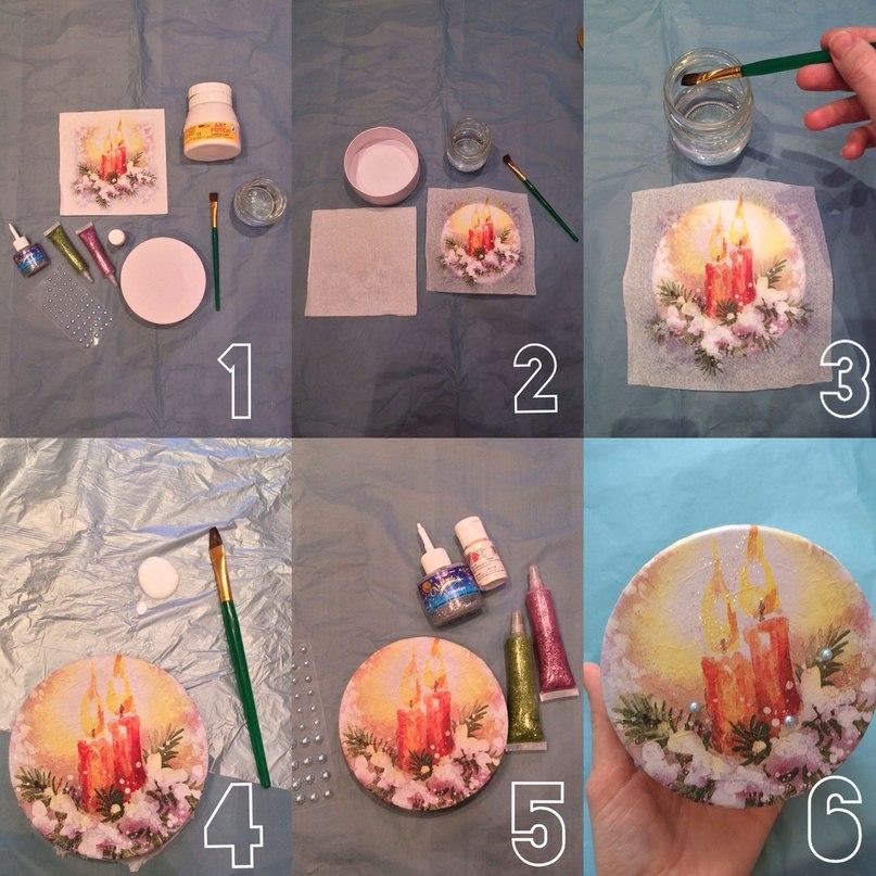 Фотоурок: декорируем круглую шкатулку по-новогоднему 2