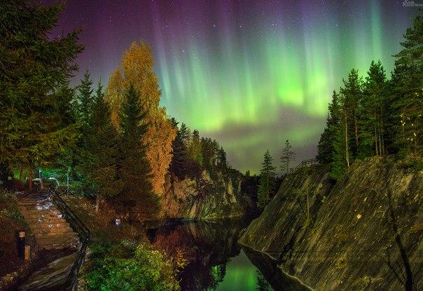 Полярное сияние над Рускеалой, Карелия. Автор фото: Kirill Kazachkov. Спокойной ночи.