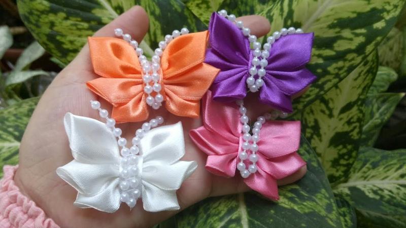 156) DIY How to Make Butterfies from Ribbon || Cara Membuat Bros Kupu-Kupu || Kanzashi || Ida Fuadi