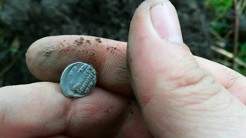 Серебяные монеты на старинной поселухе