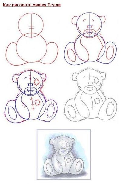Как рисовать мишку тедди