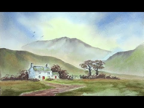 HOW TO CREATE DEPTH IN YOUR PAINTINGS, MOUNTAINS TREES BUSHES AND A FARM HOUSE... COUNTRY FARMHOUSE