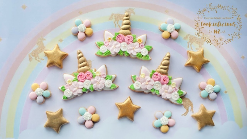 How to make UNICORN FLOWER CROWN COOKIES How to make Royal Icing Flower Tutorial INCLUDED