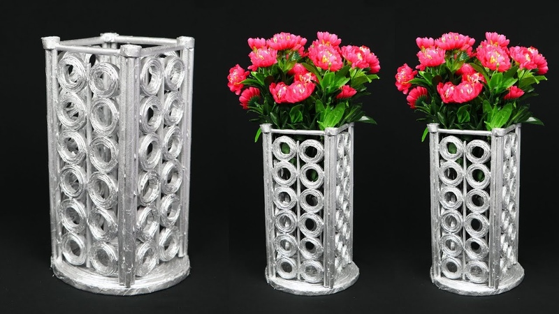 Newspaper Flower Vase flower vase making Home Decoration Ideas