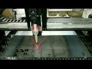 Таймлапс раскроя стального листа 3 мм на станке ЧПУ плазма