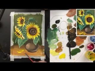 Букет подсолнухов, как нарисовать цветы 🎨ГУАШЬ! Мастер-класс