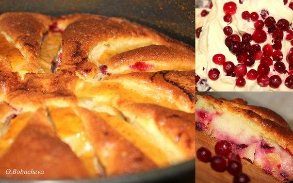 Бретонский пирог (с клюквой и яблоками)