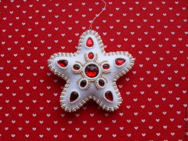 Шьем ёлочную игрушку: звездочка с алмазиками из фетра… (9 фото) - картинка