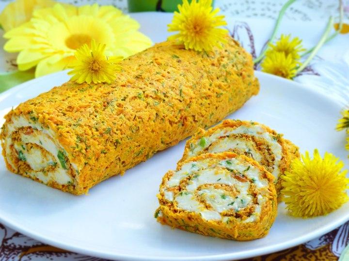 Морковный рулет с сырной начинкой Безумно вкусный морковный