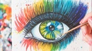 The Eye with Colorful Make up Acrylic painting Homemade Illustration 4k