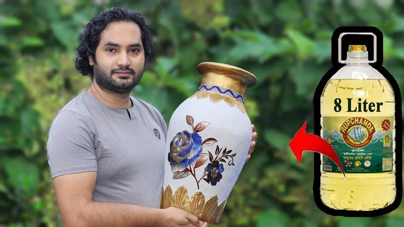 Big size Stylish flower Vase || Plastic Bottle Flower Vase || Home decor ideas