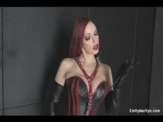 Emily Marylin dressed in leather.