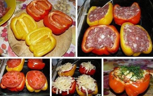 Легко и просто приготовьте изумительное блюдо!  Ингредиенты: - 2 крупных болгарских перчика. - грамм 200-300 мясного фарша..