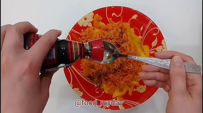 Блюда для перекуса Салат из сладкого перца огурца и корейской моркови