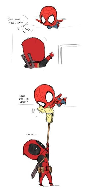 Spiderman and deadpool cute