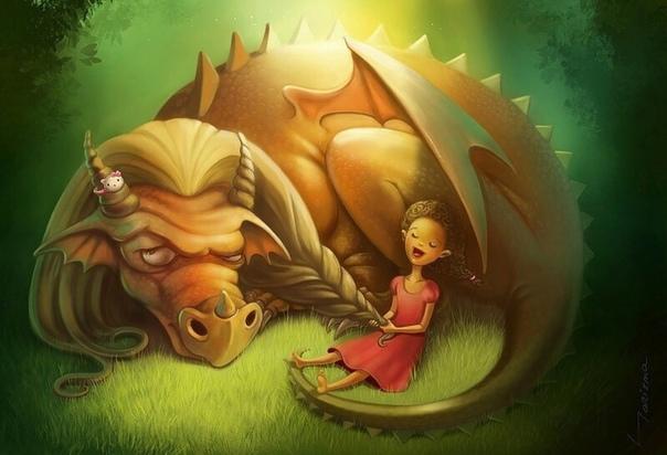 – цыпа-цыпа-цыпа, – позвал дракон, широко улыбаясь, – подойди, что-то покажу. – вы обманываете, – испуганно прошептала принцесса. – я подойду, а вы меня схватите и унесёте в свою пещеру. дракон