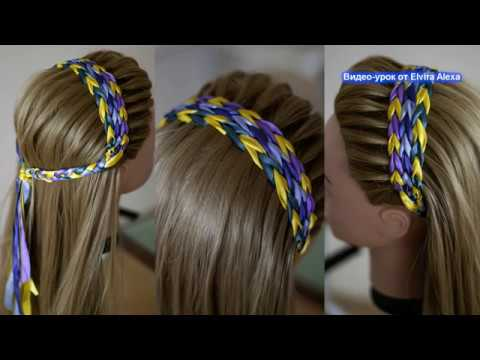 Ободок из лент Причёска из кос для любой длины волос Peinado con cintas BHair tutorial