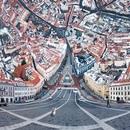 Вильнюс, Ратушная площадь. Обычная панорама, но с особой траекторией камеры.