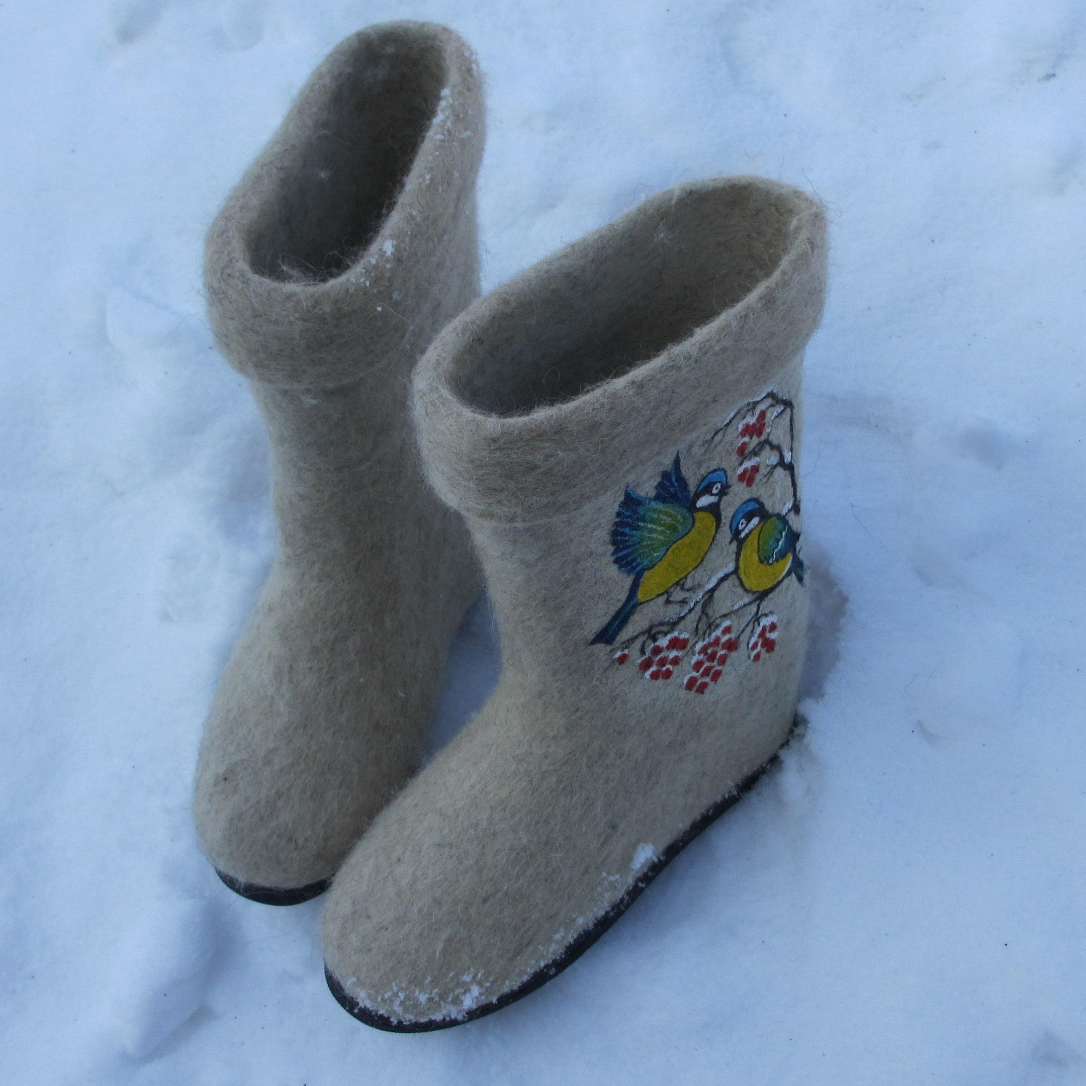 "Чёсанки ""Зимняя рябина"" - белые"