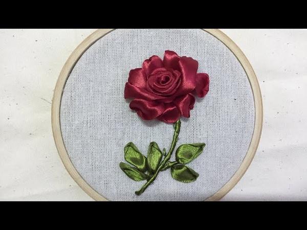 Cách thêu hoa hồng đơn giản [Ribbon Embroidery]