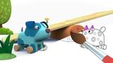 ДЕРЕВЯШКИ - Качели - Мультик Раскраска с Деревяшками - Учим Цвета и Раскрашиваем мультики