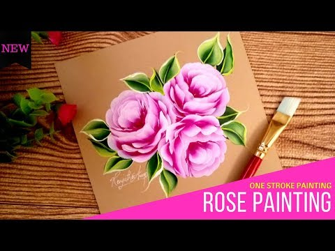 Quick and Easy Pink Roses 🌹🌹 | Acrylic Painting | One stroke painting Roses | DIY