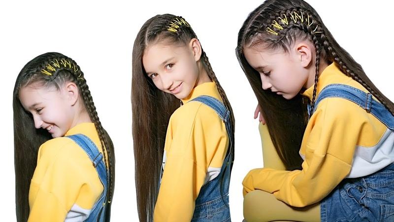 Прическа с эффектом выбритых висков. Голландские косички на боку. Брейды Side braids with ribbons