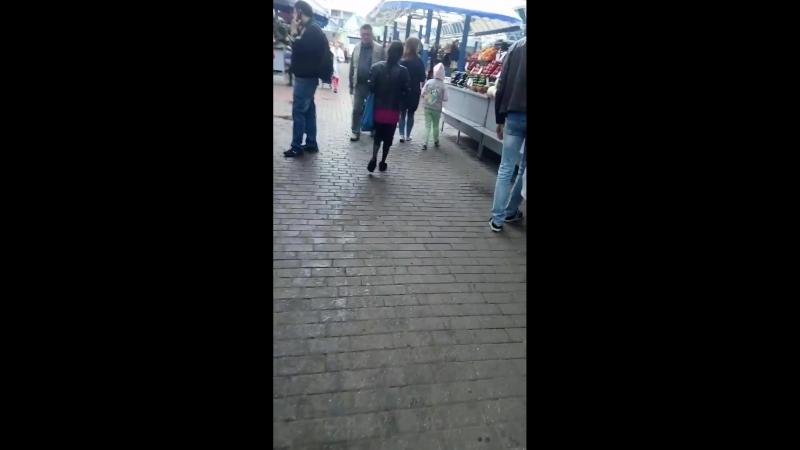 Цыганка на Комаровке побирается меж торговых рядов