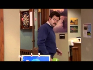 Ron Swanson and Andy - Meat Tornado
