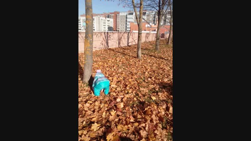 Матвей и Милана купаются в листьях.