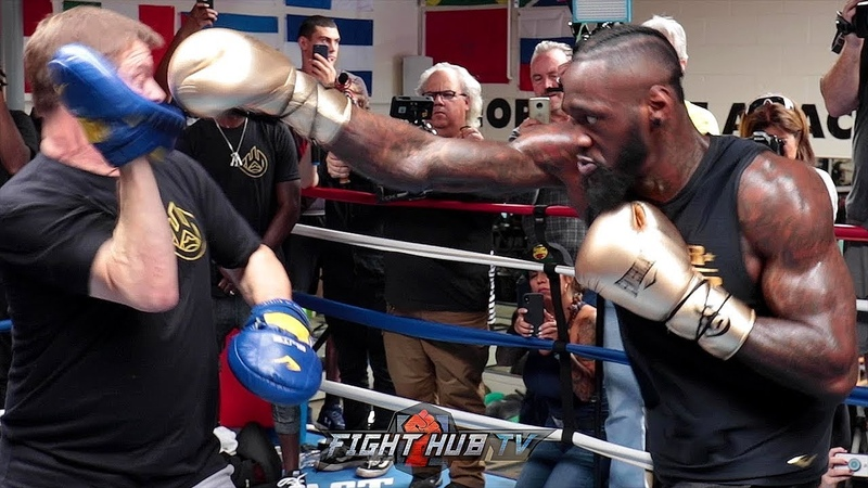 POWER ON FULL DISPLAY DEONTAY WILDER'S FULL MITT WORKOUT AS HE PREPARES FOR TYSON FURY