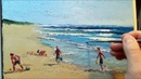 Beach Fun Sand Castles - How to - Oil Painting - Palette Knife Brush Landscape Ocean Sea Dusan