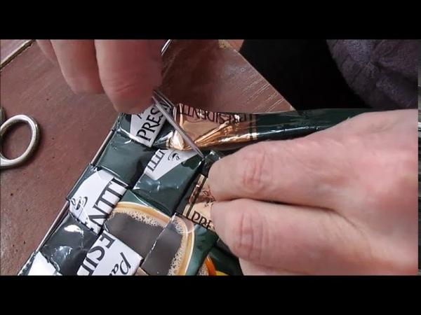 Клуб Юшкозерские ремесла Сумка из кофейных пакетов Плетение квадратных пластин