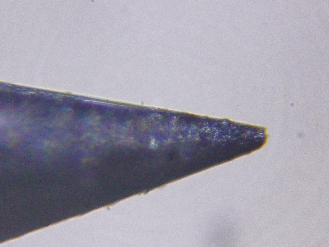 кончик обычной железной булавки под микроскопом