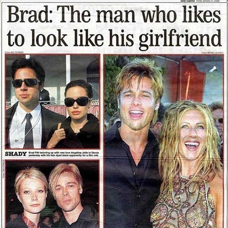 Брэд Питт мимикрирует под женщин с которыми состоит в отношениях