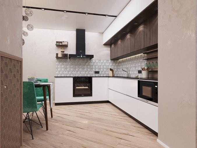 Яркий акцент в кухне - гостиной