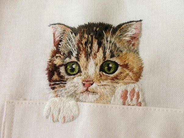 для вышивки гладью кота
