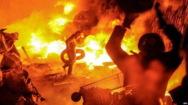Приголомшливий вогонь із шин на грушевського