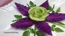 Impressive Cucumber Rose Flower Purple Cabbage Leafs Designs Vegetable Flower Carving Decoration