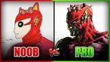 NOOB vs PRO Character Design DrawingArt Challenge (Anime Hello Kitty Flash Mashup)