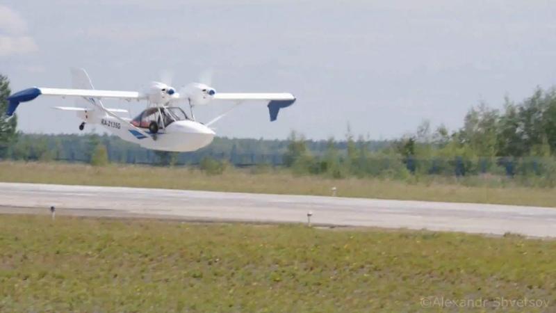 Пролёт на низкой высоте гидросамолёта Корвет-АТ (Че-22) 19 августа 2018 г. в г. Мирный.