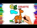 TEACH CHILDREN DRAW ALPHABET G FOR GIRAFFE COLORING BOOK KIDS LEARN ENGLISH COLORS PAGES VIDEO194