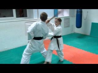 DrobyshevskyKarateSystem:BASSAI DAI-Bunkai Kumite-10-Third Shuto Uke-Sword Fighting