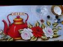 Pintando Chaleira Vermelha com Rosas Part 3* Final Ivanice Isabel