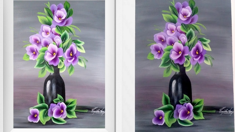 Easy Acrylic Painting - Flower and Pot Painting - Easiest painting in acrylics - Canvas Painting